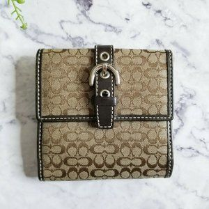 Coach Signature Canvas Trifold Buckle Snap Wallet